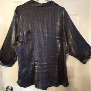 RedHot Plus Tops - RedHot Plus Silvery Button Down Top Size 24W